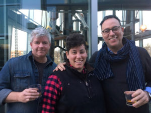 Matt Gunderman, Hannah Lowen, Brandon Dawson, at New Riff Distilling
