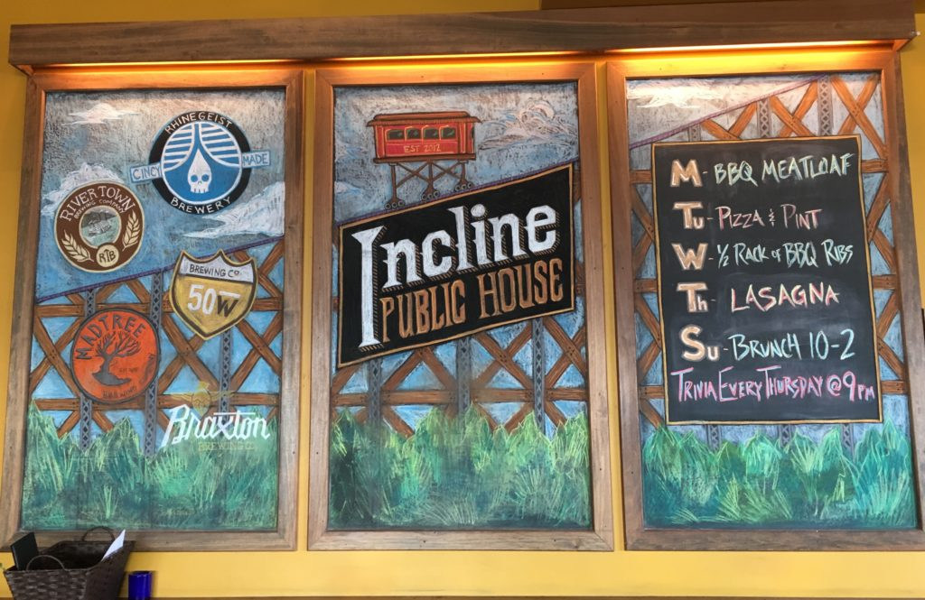 Incline Public House chalkboard displays
