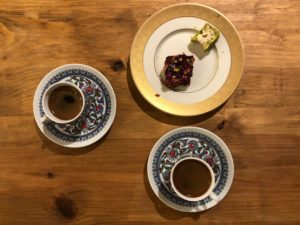Cups of Ruya Turkish Coffee and a plate of Turkish Delight