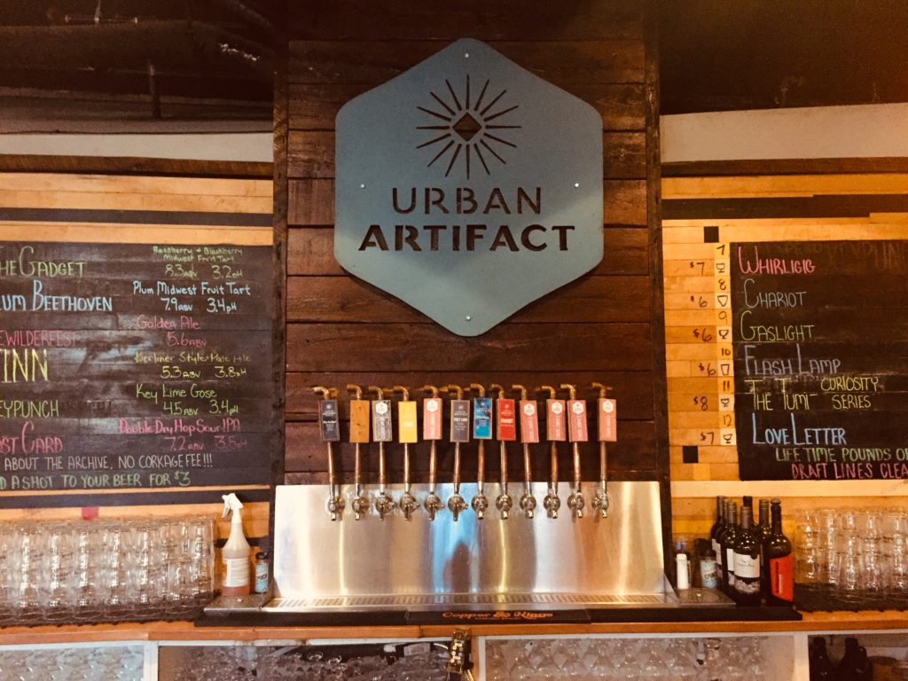 The bar and taps at Urban Artifact in Cincinnati Ohio