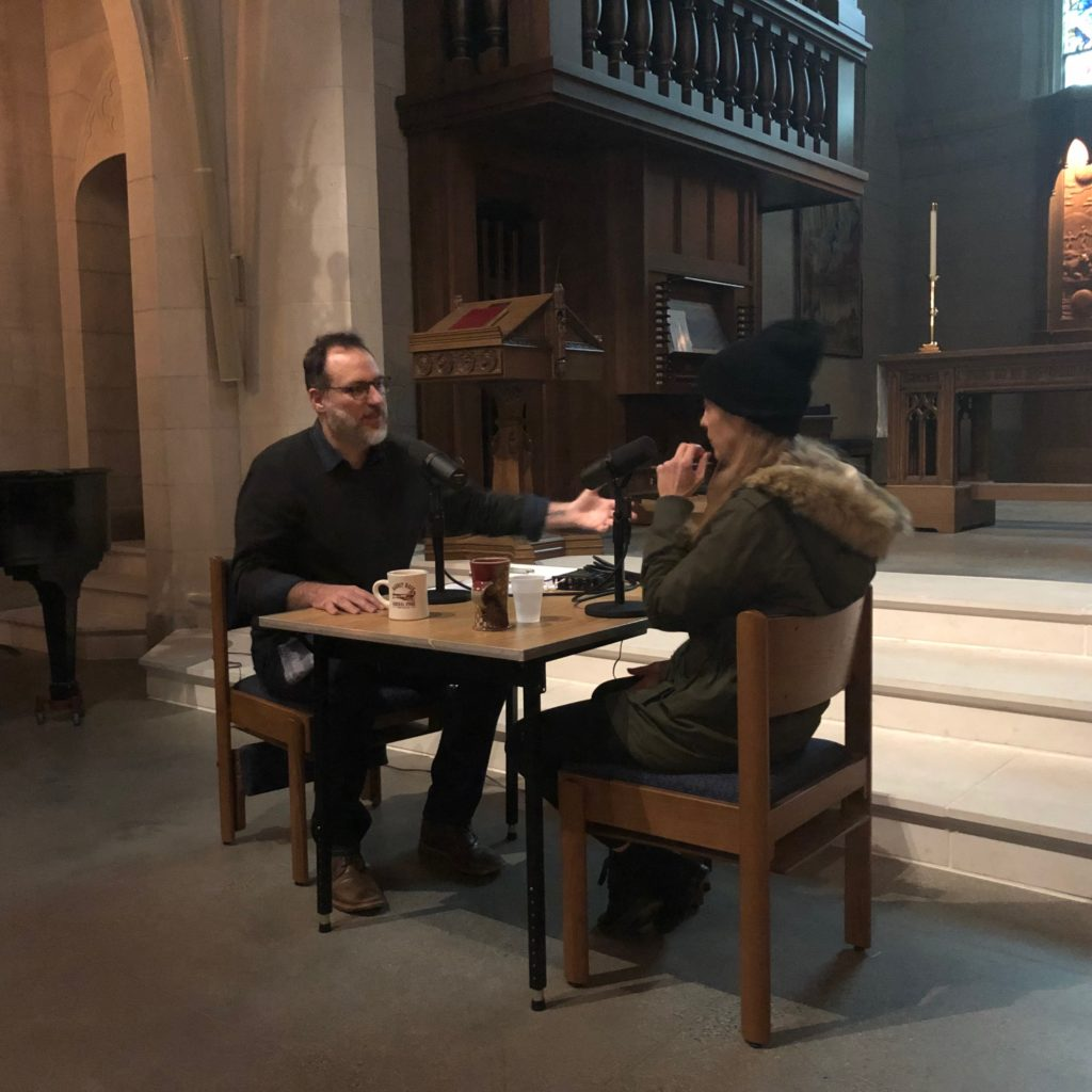 Brandon Dawson and Kim Taylor recording The Distiller podcast at Christ Church Cathedral in Cincinnati.