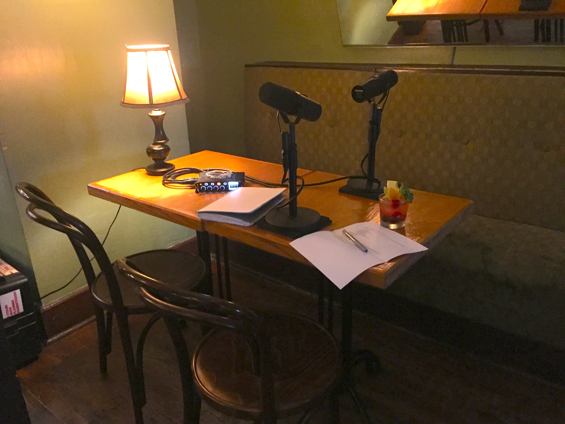 Table with microphones before recording The Distiller at Japp's