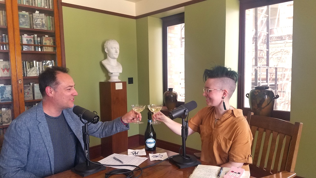 The Distiller host Brandon Dawson toasts with thanatologist Cole Imperi