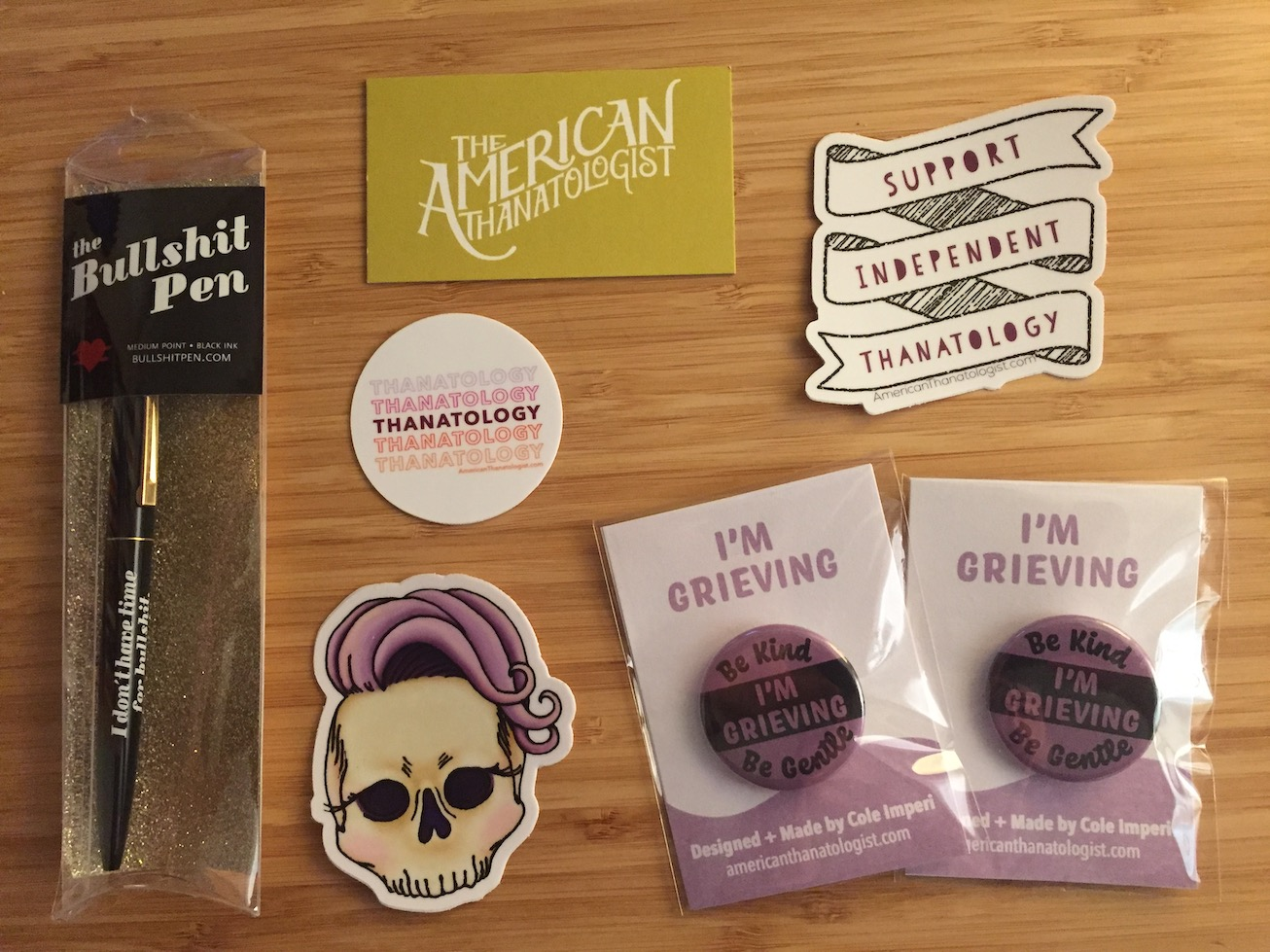 Cole Imperi American Thanatologist buttons and stickers