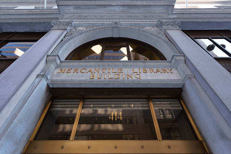 The exterior of the historic Mercantile Library Building at 414 Walnut Street in Cincinnati