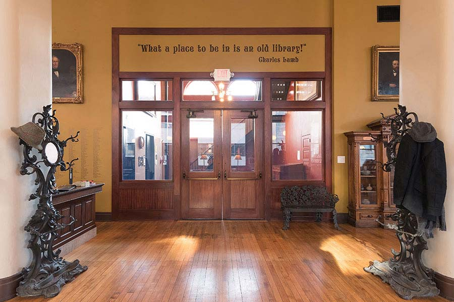 A view of the interior doors of the Mercantile Library in Cincinnati