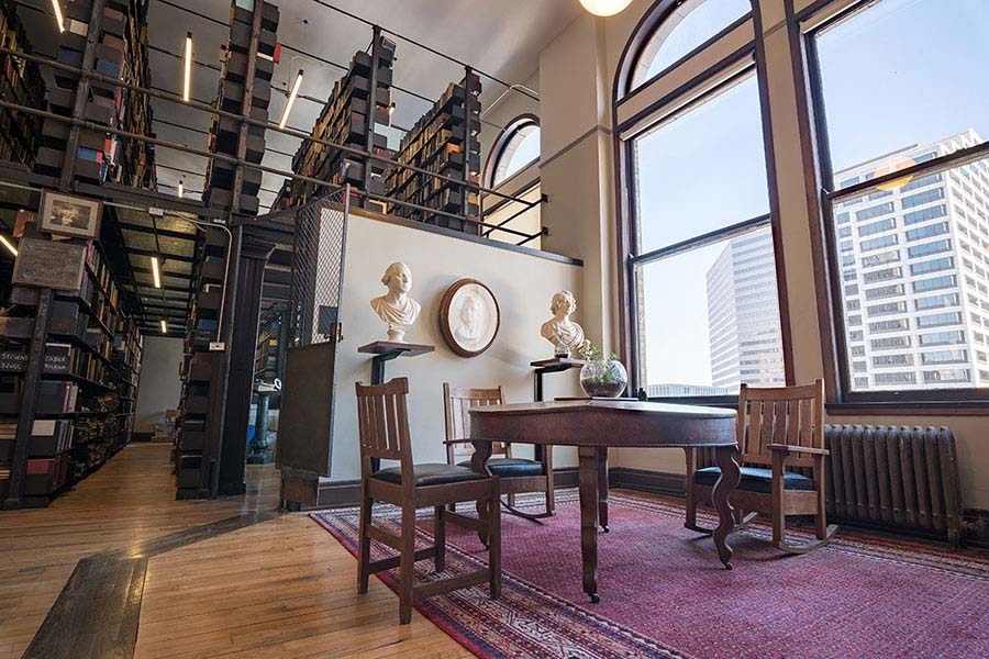 A reading and study area inside the Mercantile Library in Cincinnati, Ohio