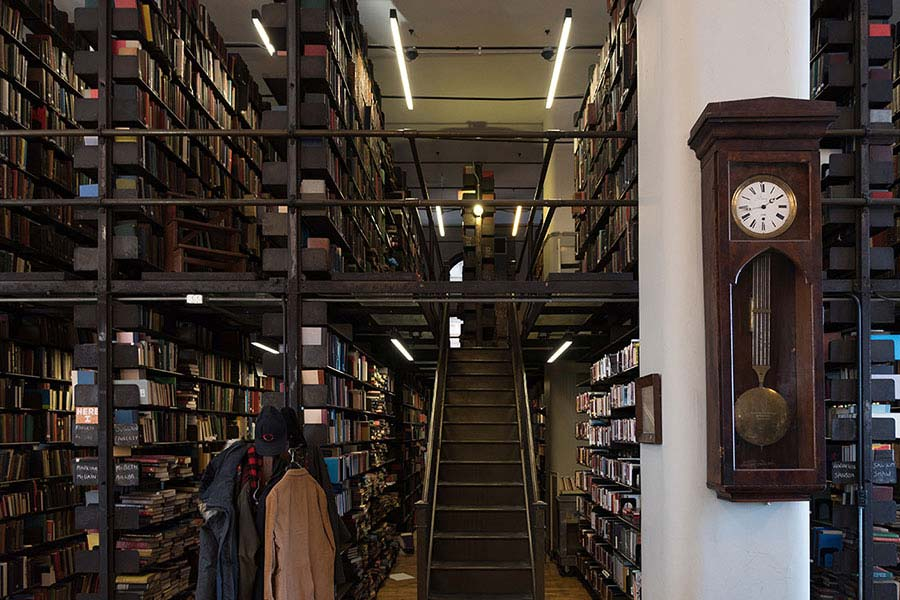 An image looking up the staircase inside the Mercantile Library in Cincinnati