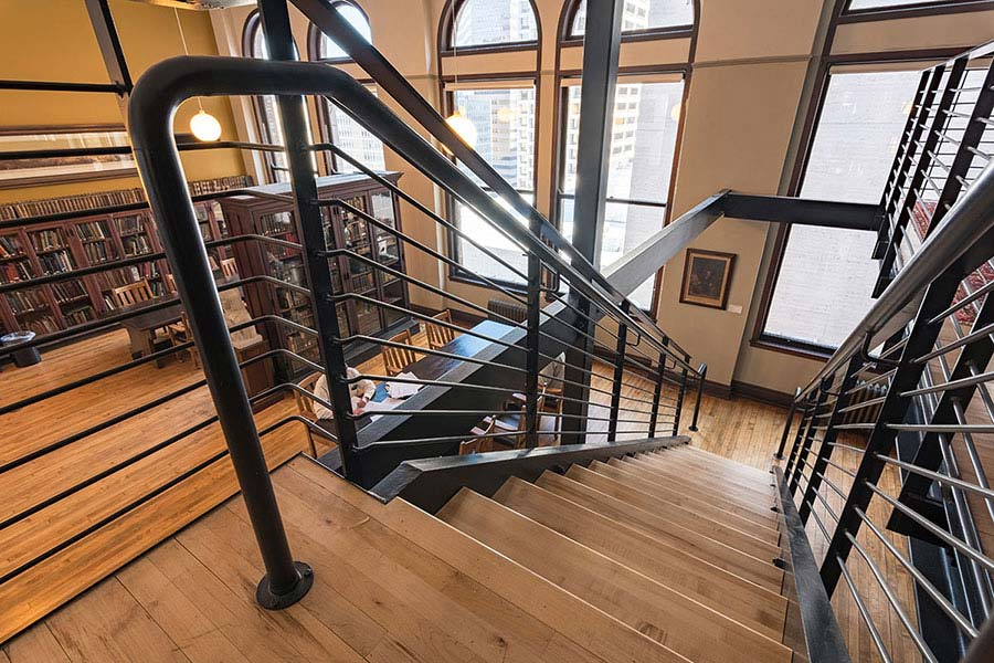 A staircase inside the Mercantile Library in Cincinnati Ohio