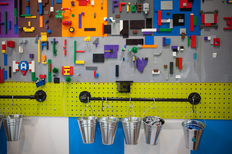 The Lego wall at the Digital Playscape inside People's Liberty