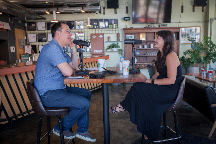 Host Brandon Dawson laughs with Carrie Farler during The Distiller Podcast interview