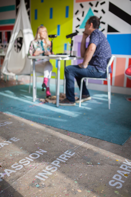 Words of inspiration on the floor of the Digital Playscape