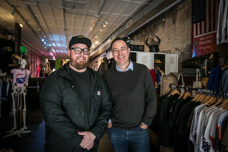 Distiller Podcast host Brandon Dawson stands with Jason Snell inside BLDG in Covington Kentucky