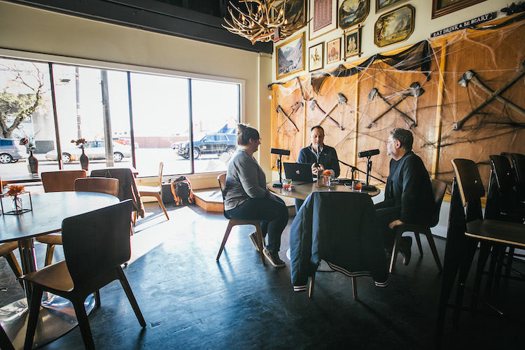 Host Brandon Dawson interviews flavorists Tony Moore and Lew Weeks at the Overlook Lodge