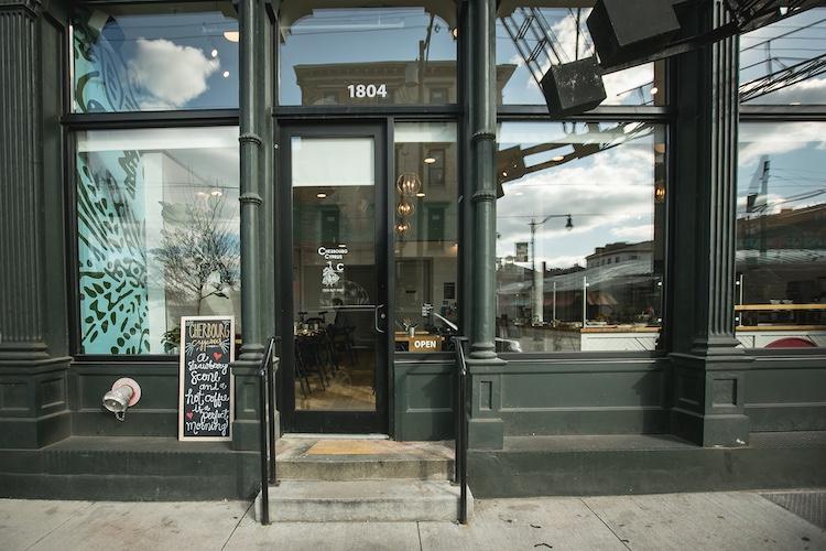 Image of the front door of Cherbourg Cyprus Bakery in Cincinnati Ohio