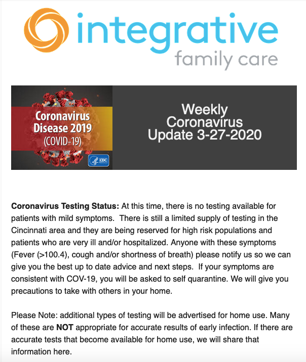 Integrative Family Care email update - March 27, 2020